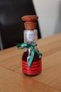 Our finished home made Christmas vanilla essence with turned stopper.