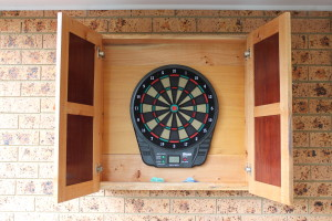 A view inside the finished darts cabinet. We went with an electronic board because of the children.