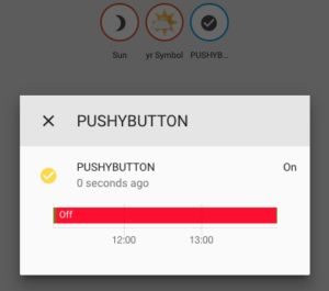 A push button being pressed in Home Assistant