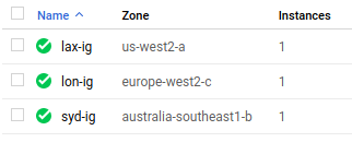 A list of google cloud instance groups